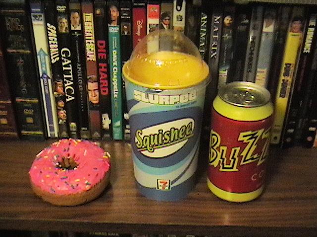 buzz cola, squishee, doughnut